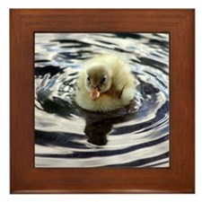 Fuzzy yellow duckling Framed Tile