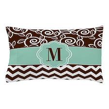 Brown Green Chevron Scroll Monogram Pillow Case