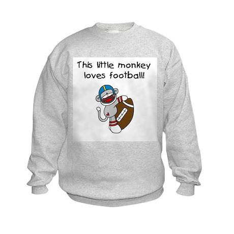 Little Monkey Loves Football Kids Sweatshirt