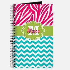 Pink Blue Green Zebra Chevron Personalized Journal
