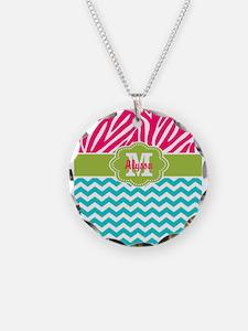 Pink Blue Green Zebra Chevron Personalized Necklac