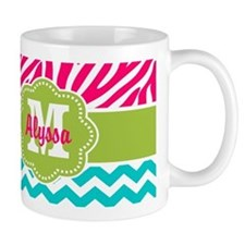 Pink Blue Green Zebra Chevron Personalized Mugs