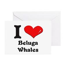 I love beluga whales  Greeting Cards (Pk of 10