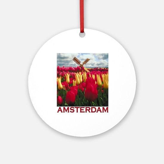 Amsterdam Tulips Ornament (Round)