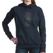 Intricate Gray Tribal Seahorse Women's Hooded Swea