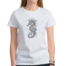 Intricate Gray Tribal Seahorse T-Shirt