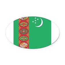 Flag of Turkmenistan Oval Car Magnet