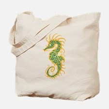 Intricate Golden Blue Tribal Seahorse Tote Bag