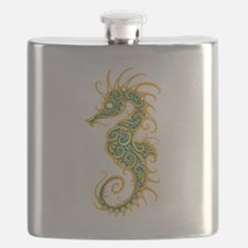 Intricate Golden Blue Tribal Seahorse Flask