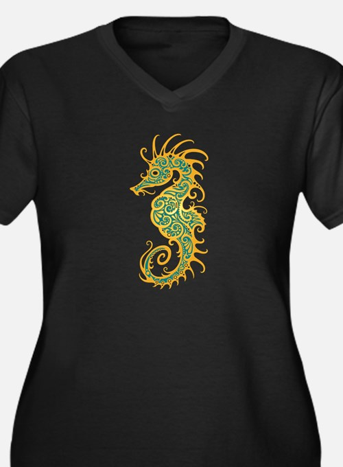 Intricate Golden Blue Tribal Seahorse Plus Size T-