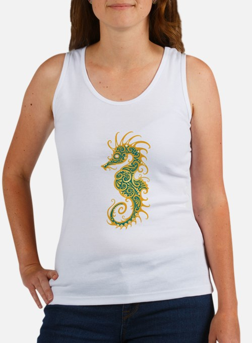 Intricate Golden Blue Tribal Seahorse Tank Top