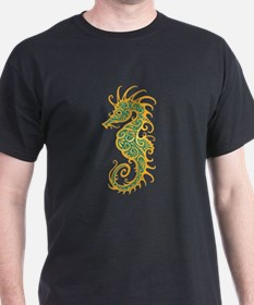 Intricate Golden Blue Tribal Seahorse T-Shirt
