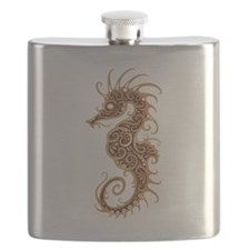Intricate Brown Tribal Seahorse Flask