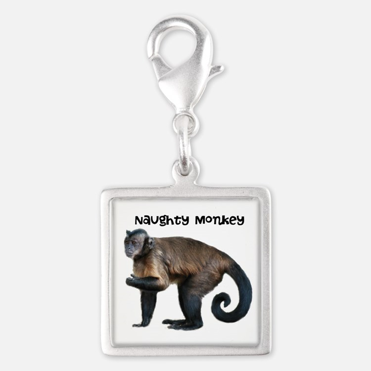 Naughty Monkey Silver Square Charm