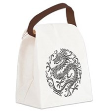 Traditional Gray Chinese Dragon Circle Canvas Lunc