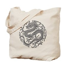 Traditional Gray Chinese Dragon Circle Tote Bag