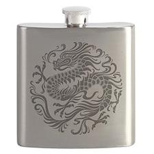 Traditional Gray Chinese Dragon Circle Flask