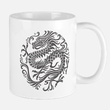 Traditional Gray Chinese Dragon Circle Mugs