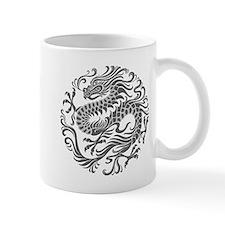 Traditional Gray Chinese Dragon Circle Mugs