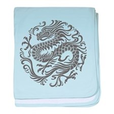 Traditional Gray Chinese Dragon Circle baby blanke