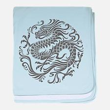 Traditional Gray Chinese Dragon Circle baby blanke