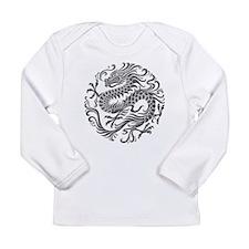 Traditional Gray Chinese Dragon Circle Long Sleeve