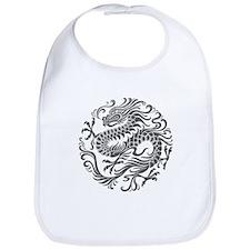 Traditional Gray Chinese Dragon Circle Bib