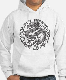 Traditional Gray Chinese Dragon Circle Hoodie Swea