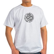 Traditional Gray Chinese Dragon Circle T-Shirt