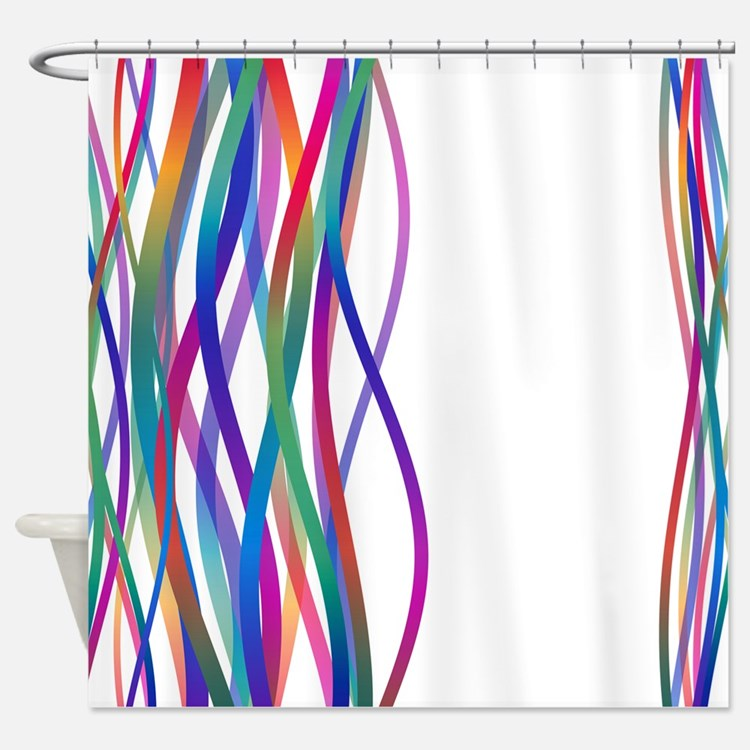 Turquoise And Orange Pattern Shower Curtains