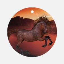 A Horse In The Sunset Ornament (Round)