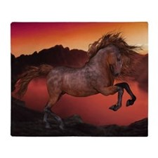 A Horse In The Sunset Throw Blanket