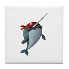 Pirate Narwhals Tile Coaster