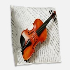 Violin Musician Burlap Throw Pillow