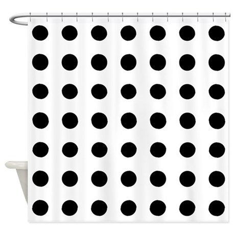 black polka dots white shower curtain by verycute. Black Bedroom Furniture Sets. Home Design Ideas
