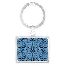 Blue And Black Damask Pattern Keychains