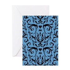 Blue And Black Damask Pattern Greeting Cards