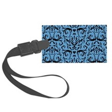 Blue And Black Damask Pattern Luggage Tag