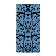 Blue And Black Damask Pattern Beach Towel