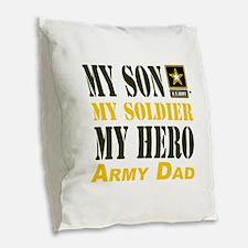 Army Dad Burlap Throw Pillow