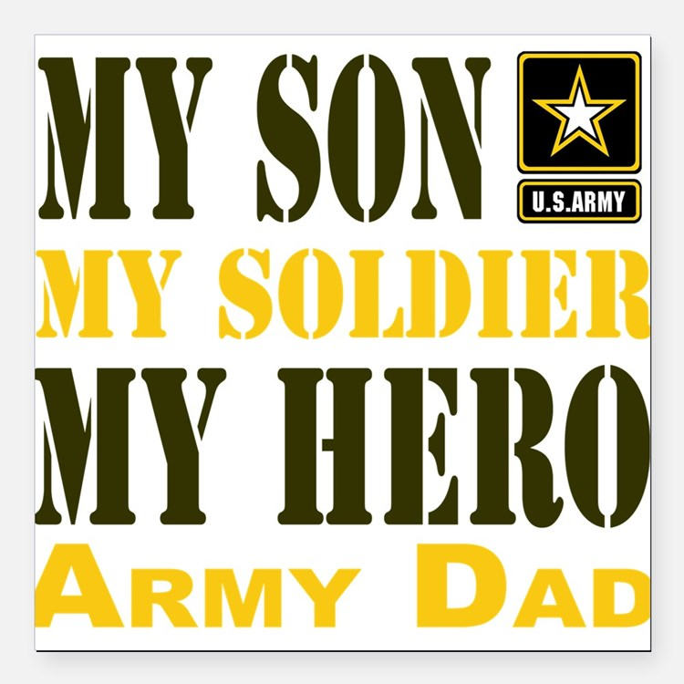 """Army Dad Square Car Magnet 3"""" x 3"""""""
