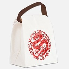 Traditional Chinese Dragon Circle Canvas Lunch Bag