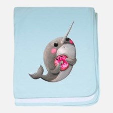 Cute Narwhal with Donut baby blanket