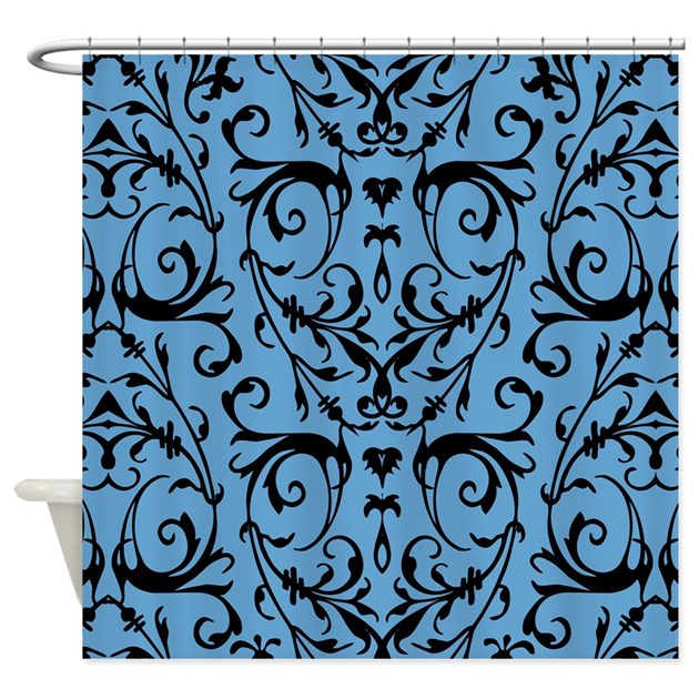 Blue And Black Damask Pattern Shower Curtain By Artandornament
