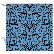 Blue And Black Damask Pattern Shower Curtain