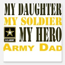 """Army Dad Daughter Square Car Magnet 3"""" x 3"""""""