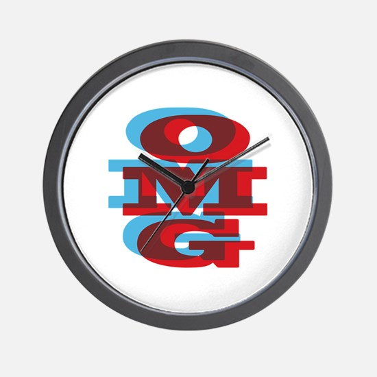 OMG - red and blue Wall Clock