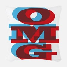 OMG - red and blue Woven Throw Pillow