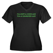 Learned-Ass Women's Plus Size V-Neck Dark T-Shirt