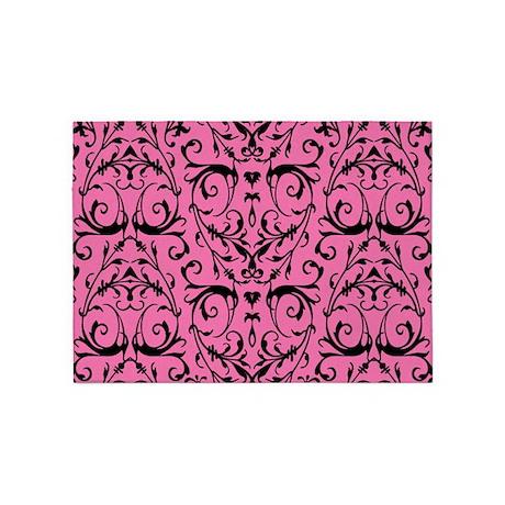 pink and black damask pattern 5 39 x7 39 area rug by artandornament. Black Bedroom Furniture Sets. Home Design Ideas